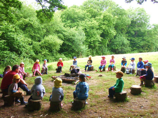 Reception class at the log circle